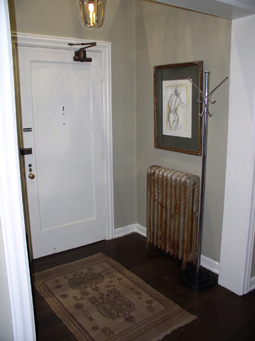 apartment door and coat rack