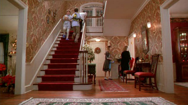Home Alone movie house entry hall staircase