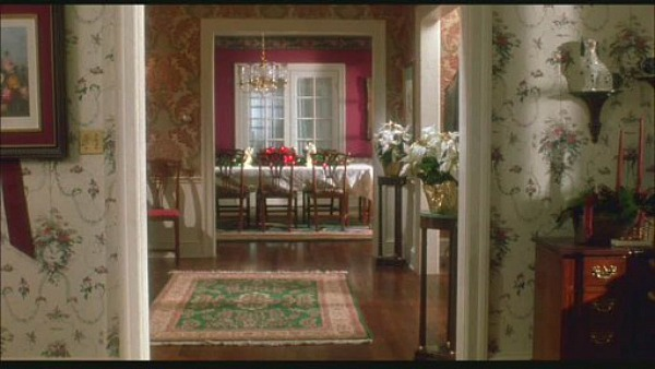 Home Alone movie house looking into dining room