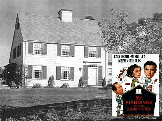 front exterior of Mr. Blandings' dream house with movie poster inset