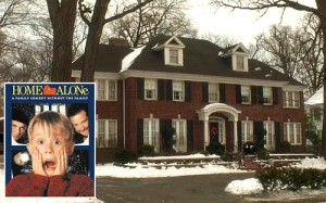 exterior front of red brick house with black shutters in Home Alone movie