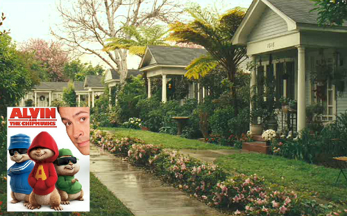 bungalow court featured in Alvin and the Chipmunks with inset of movie poster