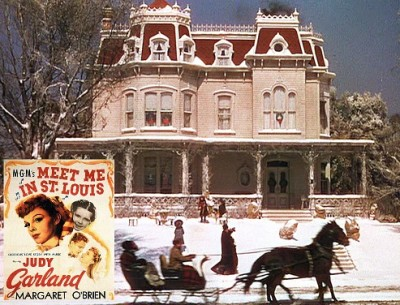 horse and sleigh running past the house from Meet Me in St Louis movie