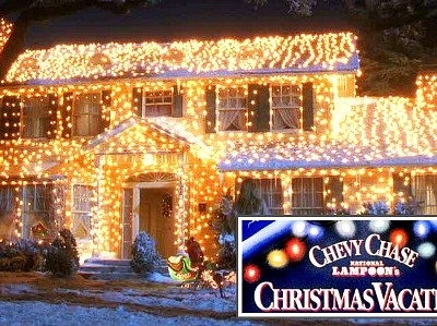 front exterior of Clark Griswold's house lit up with Christmas lights