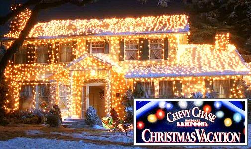 National Lampoon's Christmas Vacation house in lights - Griswold House In National Lampoon's Christmas Vacation