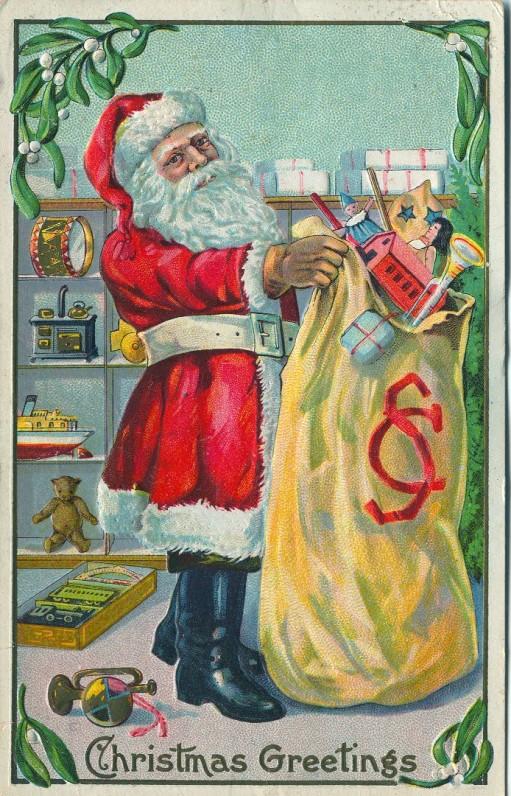 Vintage Santa Postcard-Graphics Fairy