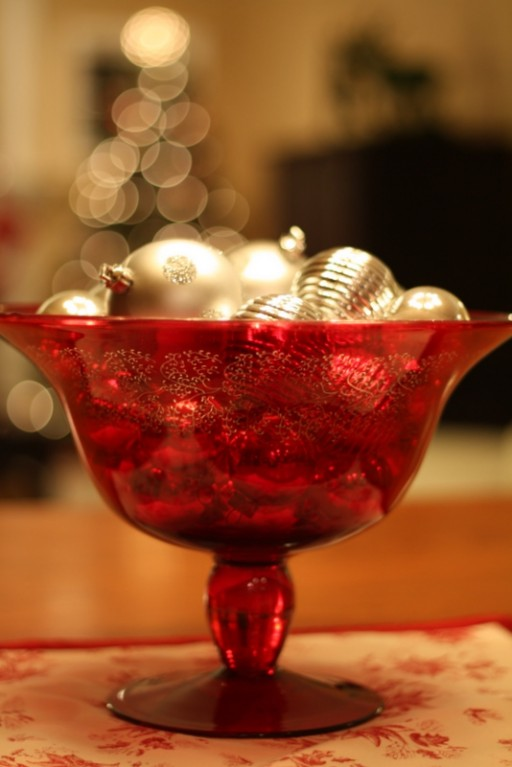 red bowl-silver ornaments