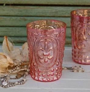 Heather Bullard-pink fleur de lis votives