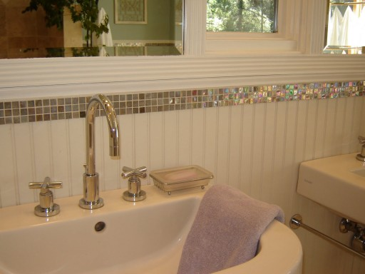 Man cave bathroom style revealed diydiva for Glass tile border bathroom ideas