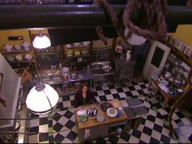 Tour-Dragonfly Inn kitchen set overhead