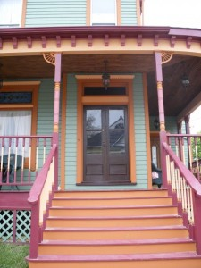 front double doors on painted Victorian