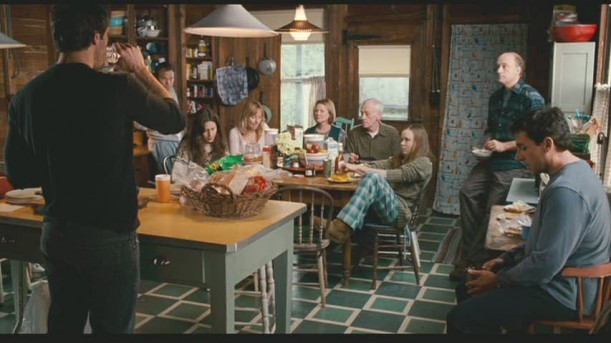family gathered in the kitchen