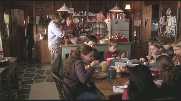 family eating in kitchen