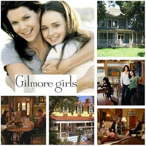 collage of photos from Gilmore Girls with Lauren Graham and Alexis Bledel