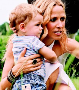 Sheryl Crow and son Wyatt on farm