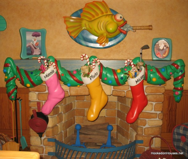 mantel decorated with stockings