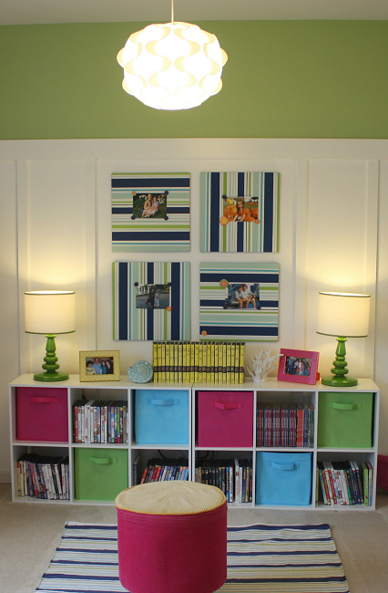 IKEA pendants Limeade paint board and batten playroom