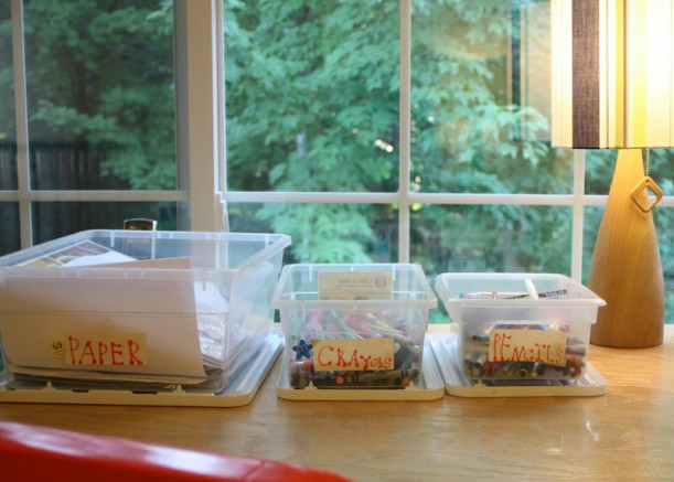 closeup of boxes on craft table