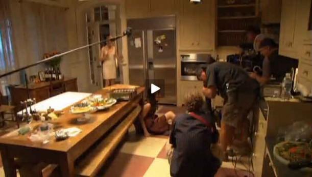 filming in kitchen