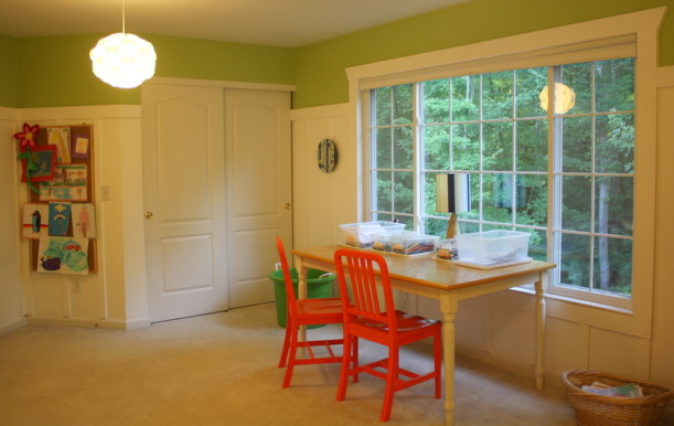 playroom window & closets
