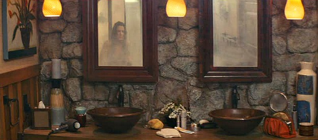 stone wall double vanity The Proposal movie bathroom - Hooked on Houses