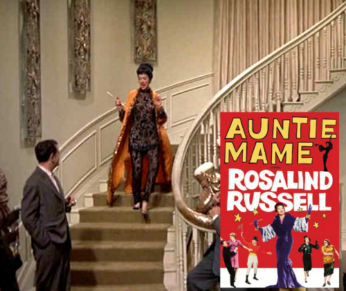 Auntie Mame coming down the staircase with movie poster inset