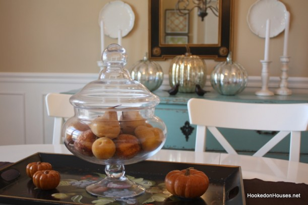 apothecary jar in dining rm