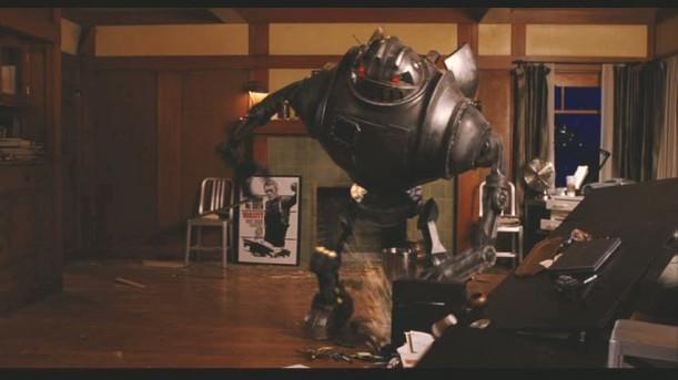 robot destroying house