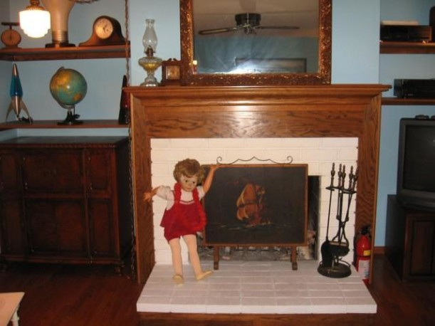 Carrie at fireplace