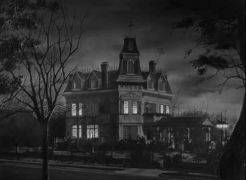 The Addams Family Mansion at Night