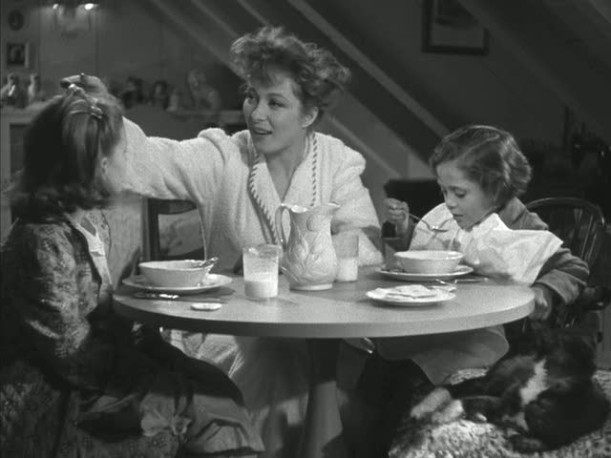 Greer Garson and her character\'s daughters in the attic playroom