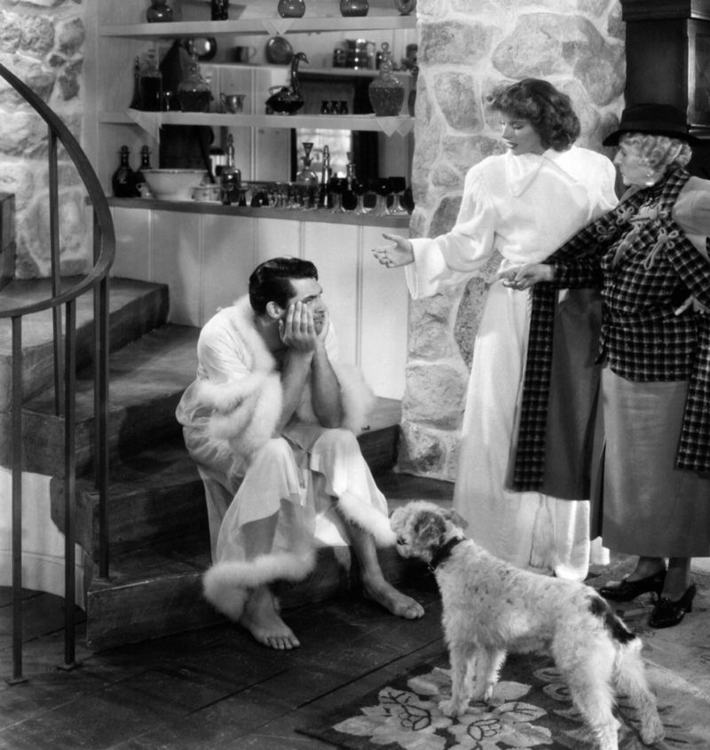 Cary Grant in dressing gown with Katharine Hepburn in Bringing Up Baby movie