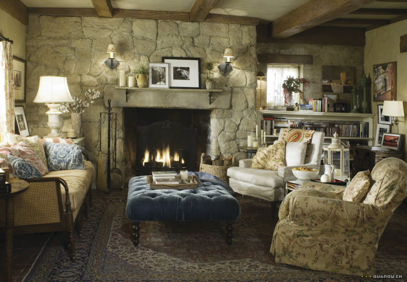 Rosehill Cottage living room stone fireplace The Holiday