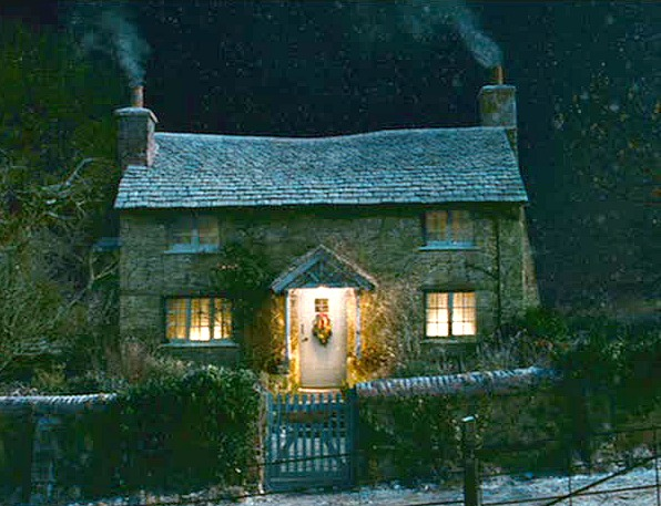 The Holiday movie stone cottage at night