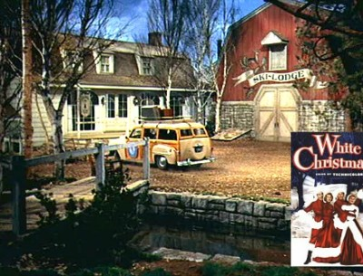 Columbia Inn in Pine Tree, Vermont, with White Christmas movie poster inset