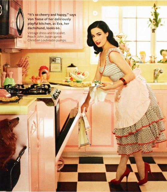 Dita Von Teese-pink and yellow kitchen-InStyle