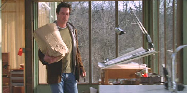 Keanu Reeves in The Lake House-drafting table