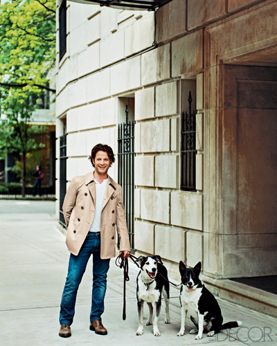 Nate Berkus and his dogs in Elle Decor