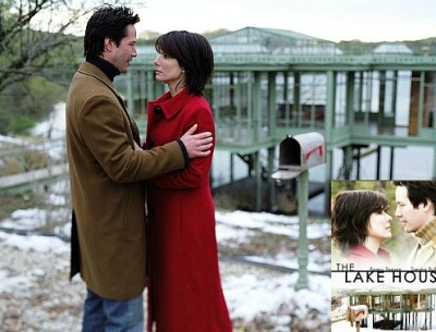 Keanu Reeves and Sandra Bullock in front of lake house with movie poster inset