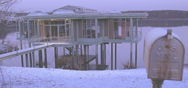 The Lake House-glass house in snow