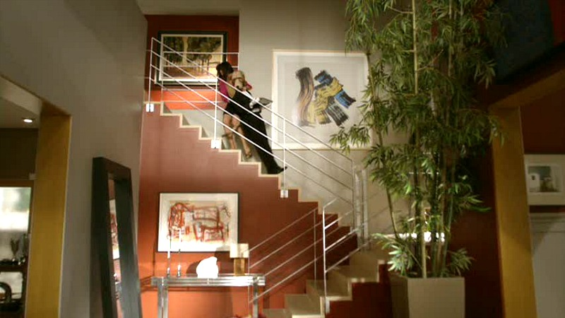 Modern Family Jay and Gloria's entry hall staircase in contemporary house