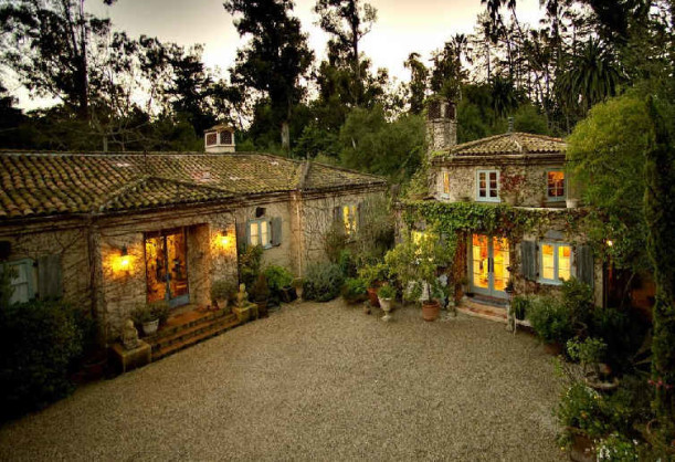 overhead view of Penelope Bianchi\'s house and guest house in Santa Barbara