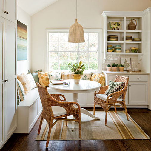 banquette seating with round kitchen table