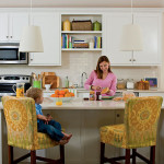 woman standing at kitchen island