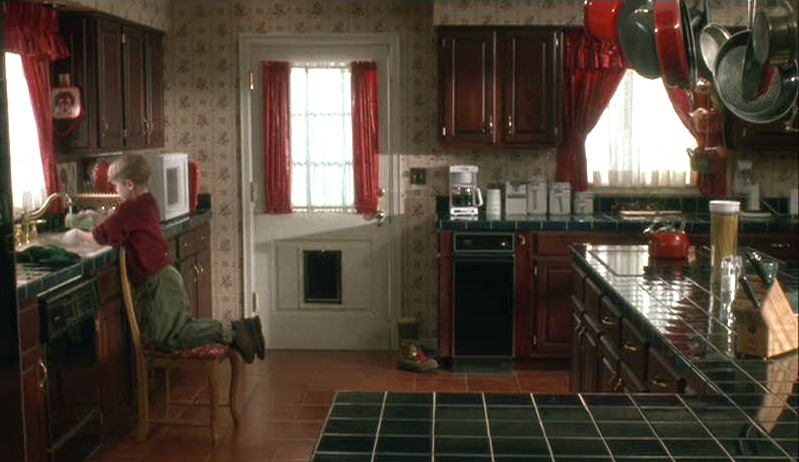 Home Alone house red and green kitchen