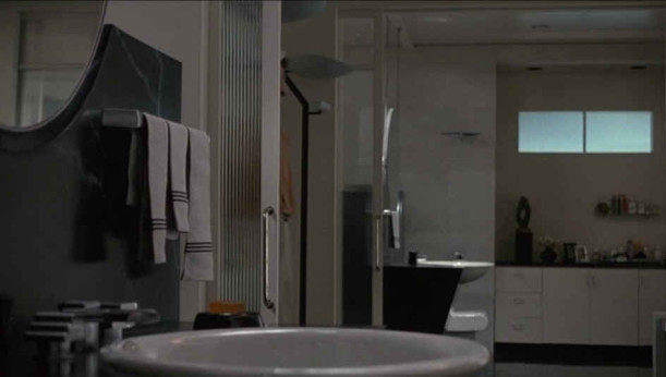 unevenly hung bathroom towels in Sleeping with the Enemy movie