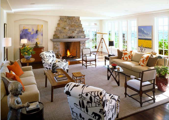 family room with stone fireplace-psdab - Hooked on Houses