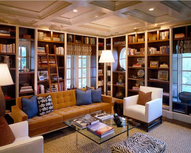library with built in bookshelves