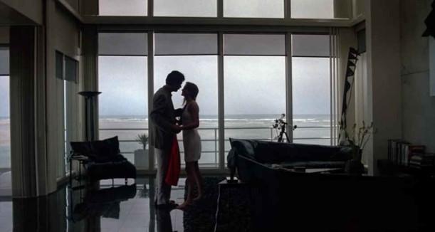 couple standing in front of window overlooking beach
