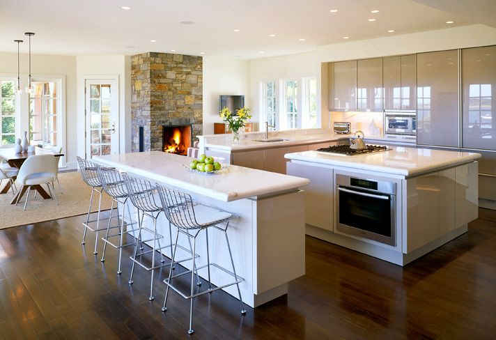Modern Kitchen With Stone Fireplace Psdab Hooked On Houses